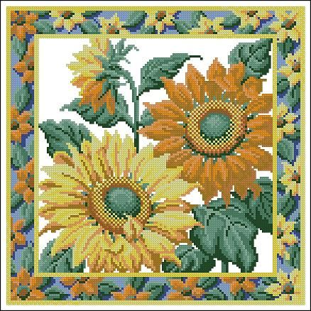 "Free cross-stitch pattern  ""Pillow with sunflowers"""