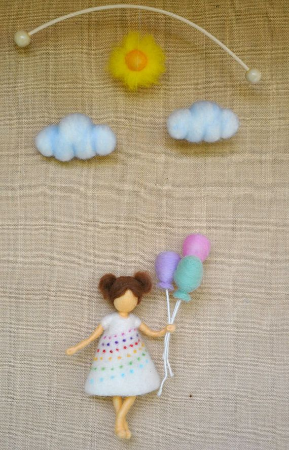 Room Decor Children mobile Waldorf inspired  girl with balloons