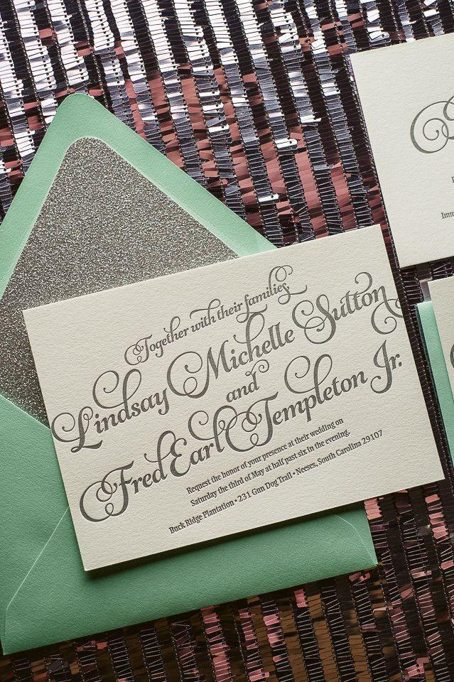 wedding invitation mint green%0A KATHRYN Suite Glitter Package  Glitter Wedding InvitationsWedding
