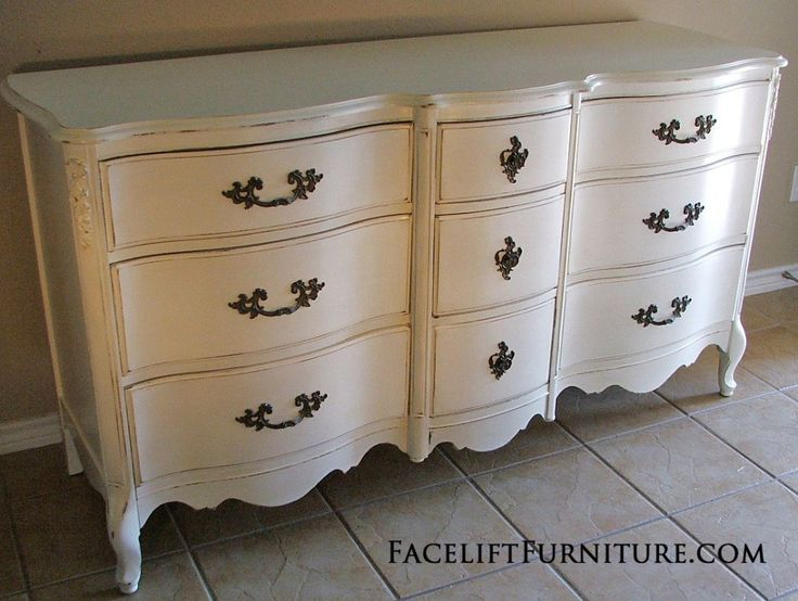 Distressed antiqued white french provincial dresser - White french country bedroom furniture ...