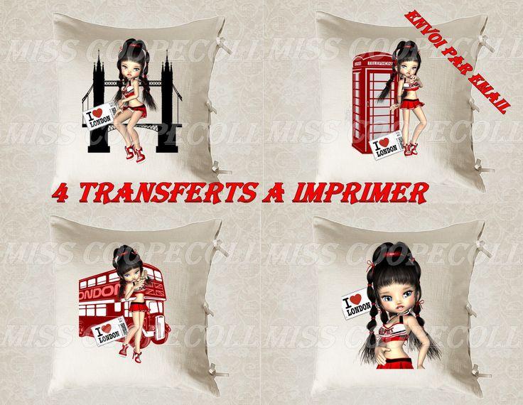 """4 images digitales pour transfert à imprimer """"miss shirley à Londres2"""" envoi par mail, bleu, rouge : Loisirs créatifs, scrapbooking par miss-coopecoll"""