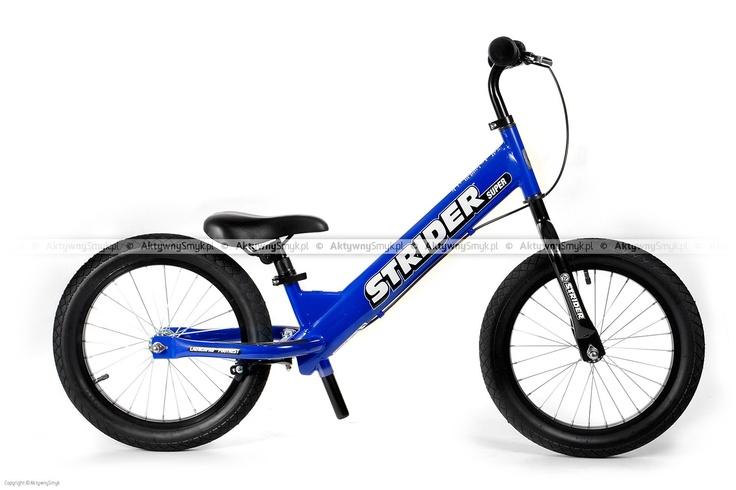 Niebieski rowerek biegowy Super Strider SS-1 posiada regulację siodełka od 45 cm, regulowaną na wysokość kierownicę bez blokady kąta skrętu, szprychowe koła z pompowanymi oponami 16 cali o płytkim bieżniku, zacisk siodełka z szybkozamykaczem do wygodnej regulacji oraz duże antypoślizgowe naklejki na tylnym widelcu podtrzymujące zmęczone stopy rowerowego biegacza. Super Strider waży ok. 6,8 kg. http://www.aktywnysmyk.pl/160-rowerki-biegowe-super-strider
