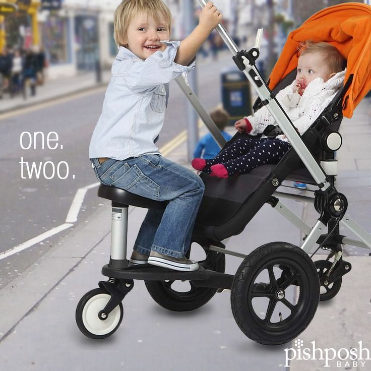 The Twoo seat by Kleine Dreumes snaps right onto the Bugaboo wheeled board. Toddlers tired of standing can sit, allowing for longer trips. A little seat makes a big difference. Outings are fun again! http://www.pishposhbaby.com/bugaboo-twoo-seat.html