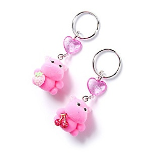 Fuzzy Hippo Best Friends Keychains