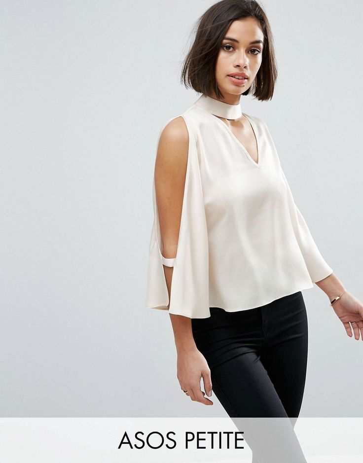 Buy it now. ASOS PETITE Cold Shoulder Satin Swing Top with Deep Plunge and Choker Detail - Beige. Petite top by ASOS PETITE, Smooth satin-style fabric, Plunge neck, Choker detail, Cold shoulder cut, Wide-cut sleeves, Double button-keyhole back, Relaxed fit, Machine wash, 100% Polyester, Our model wears a UK 8/EU 36/US 4 and is 163cm/5'4 tall. ABOUT ASOS PETITE 5�3�/1.60m and under? The London-based design team behind ASOS PETITE take all your fashion faves and cut them down to size. Say g...