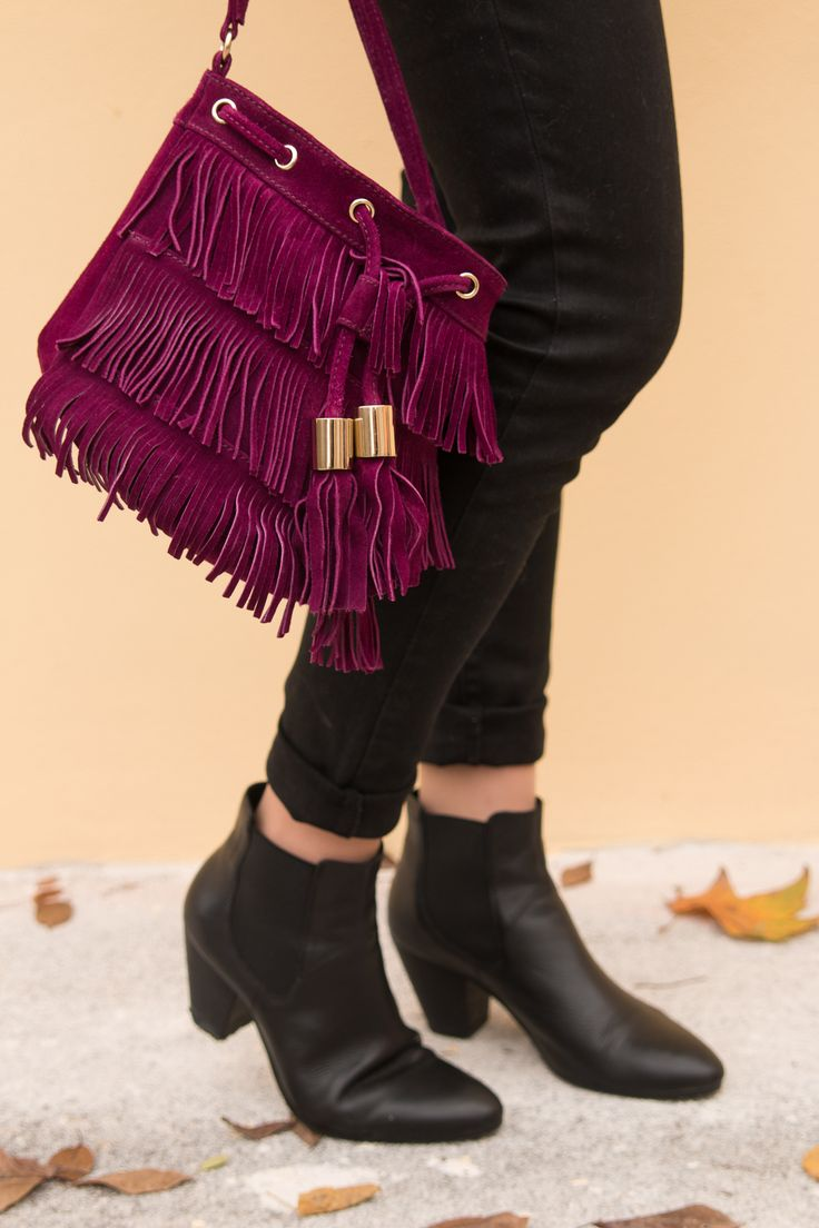 ASOS, BAG, SUEDE, FRINGES, PURPLE