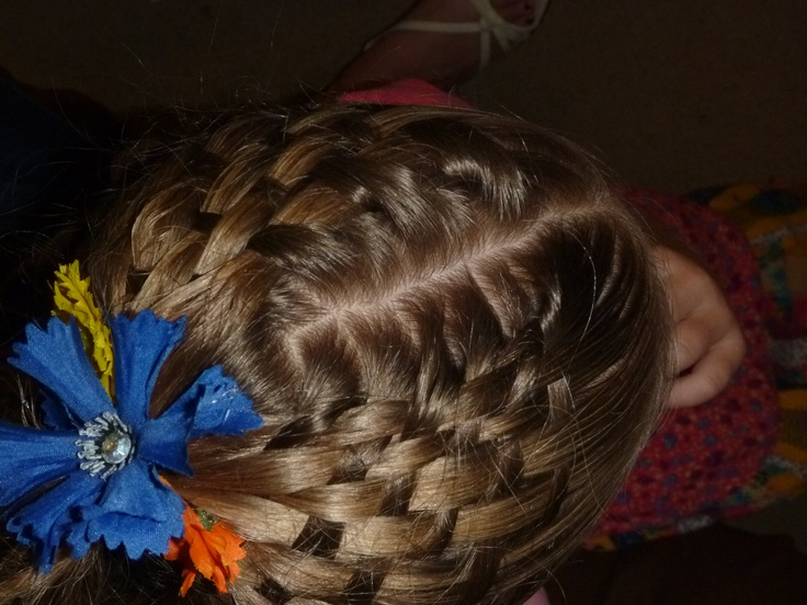 Basket weave hair style.    Fun for Easter