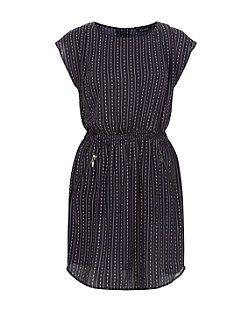 Navy Stripe Shirred Waist Short Sleeve Dress  | New Look