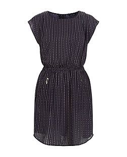 Navy Stripe Shirred Waist Short Sleeve Dress  | New Look