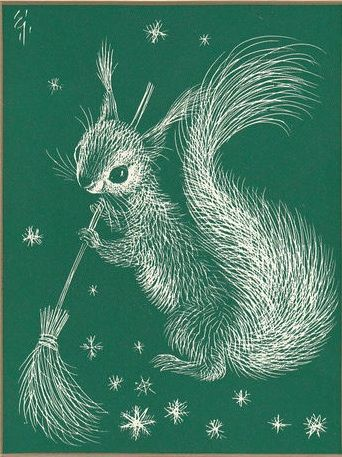 christmas card squirrel broom art. scotland new year sweep in the new year