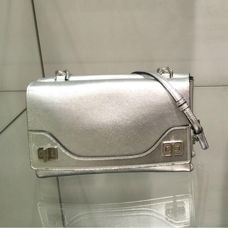 Flap bag by @Prada #Prada #bag #silver #FolliFollie #FW14collection