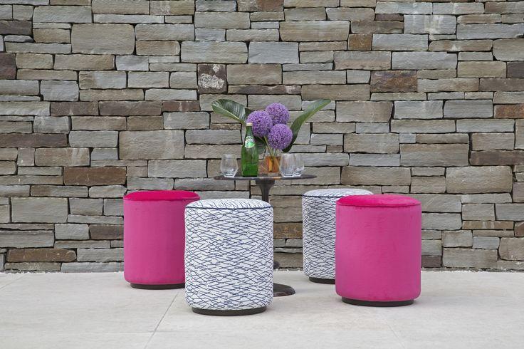 Coco Wolf outdoor Delano drums in Perennials fabric