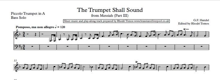 """Trumpet play-along / music minus trumpet mp3 and solo sheet music for all movements of Handel's Messiah oratorio that contains trumpet parts i.e. 5 movements, which include """"The Trumpet Shall Sound"""" and """"Hallelujah Chorus"""". Sheet music for Trumpet 1 provided for piccolo trumpet in A, trumpet in C, D"""
