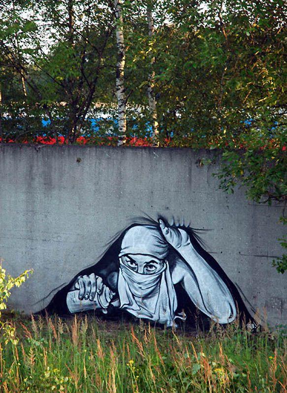 Great Street Art Named P183 - Russian Banksy