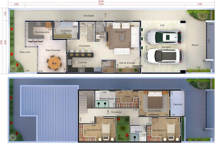 Casa de piso con 3 habitaciones. Plano para terreno 8x25
