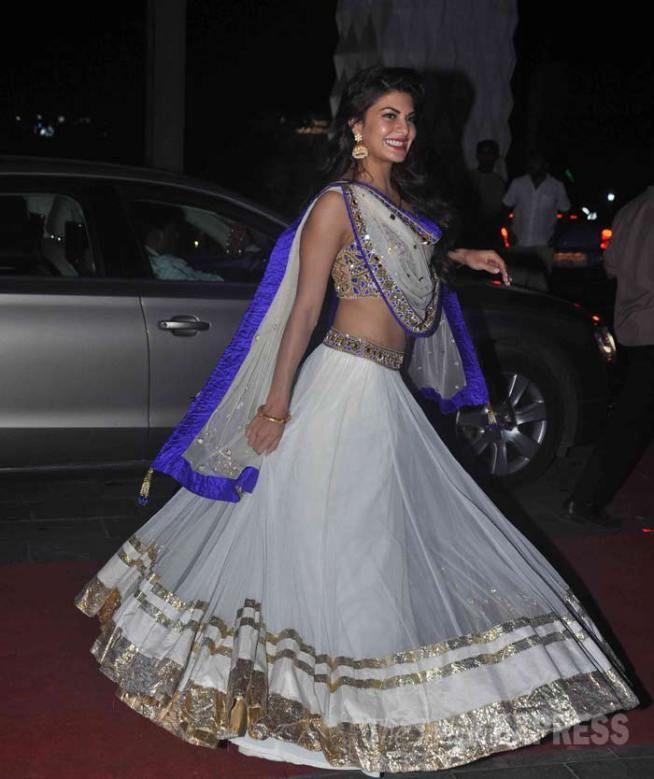 White Wedding Dress Mumbai: Jacqueline Fernandez In A Voluminous White Arpita Mehta