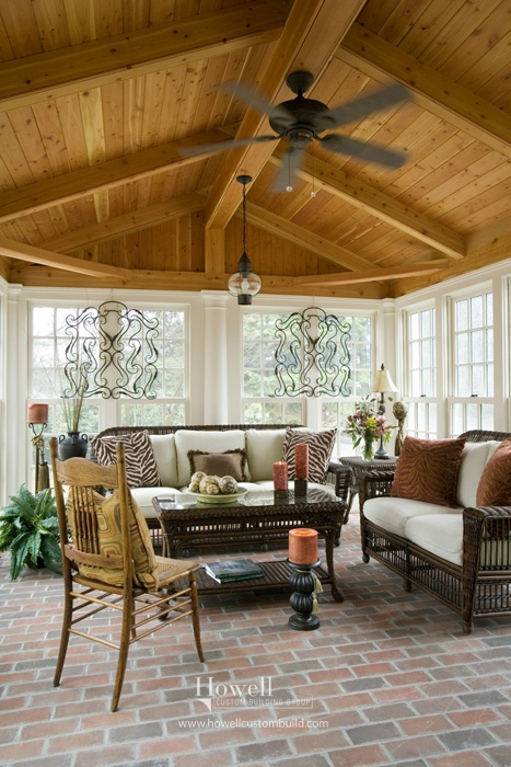 21 best porches decks howell custom building group for Timber frame sunroom addition