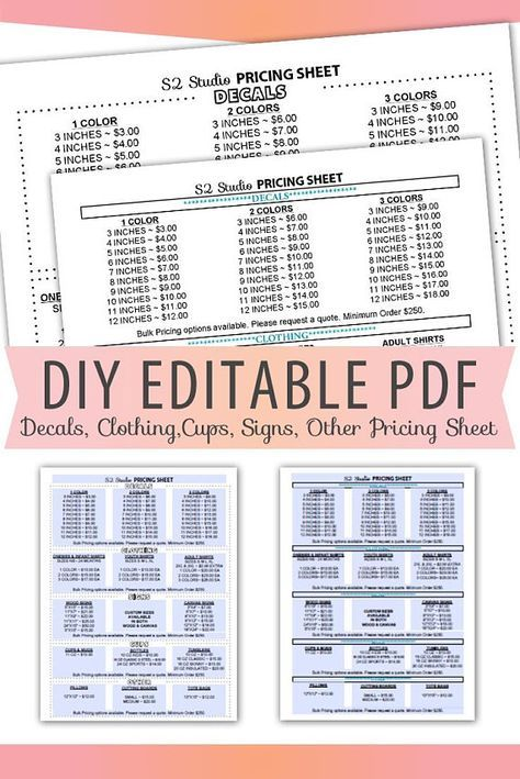 vinyl decals pricing sheet editable pdf letter size form blank