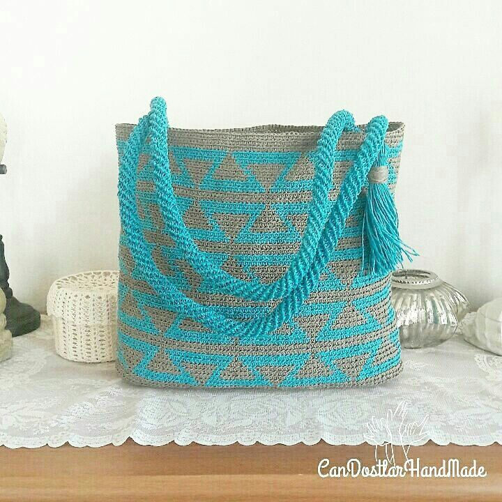 Crochet wayuu beach bag Wayuu kağıt ip plaj çantası