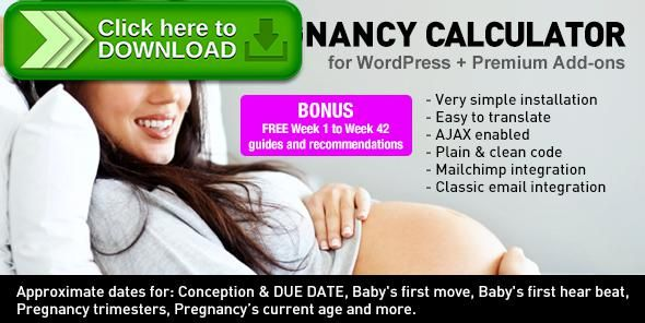 [ThemeForest]Free nulled download Pregnancy Due Date Calculator for WordPress + Add-ons from http://zippyfile.download/f.php?id=51370 Tags: ecommerce, baby, birth, calculator, child, conception, due date, labour, mailchimp, mother, pregnancy
