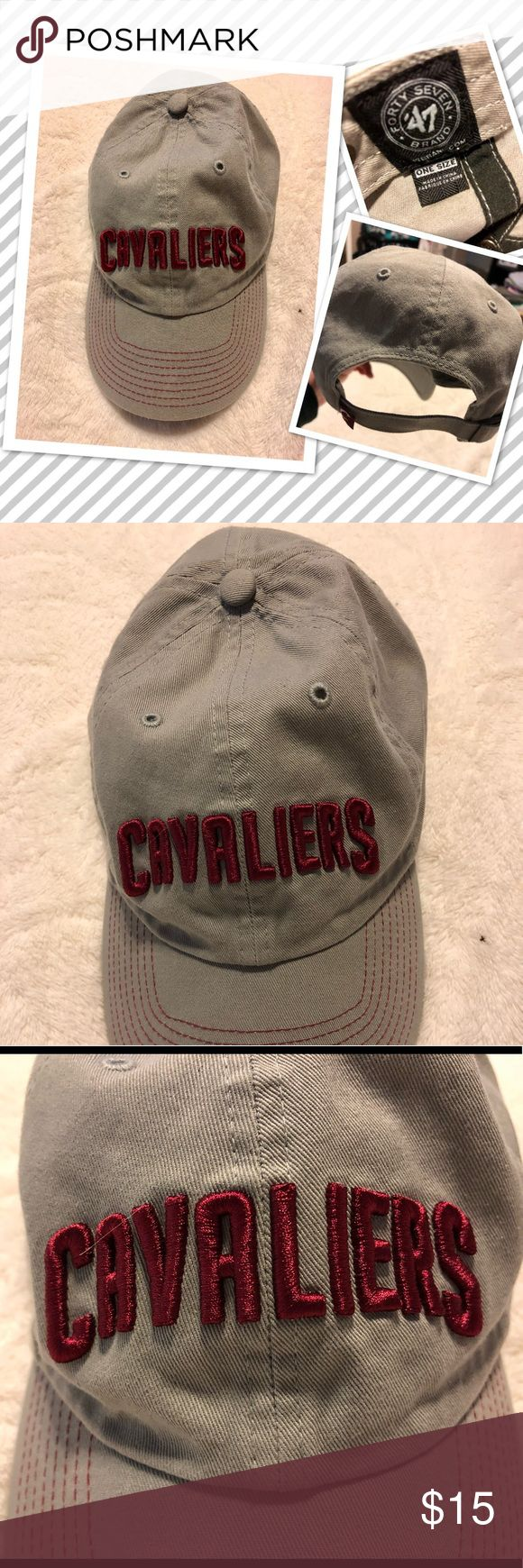 Gray Cavaliers adjustable hat worn once. Great looking gray w/red lettering Cleveland CAVS hat. Bought at a CAVS game-wore it that night only.  Looks brand new. Very comfortable hat-adjustable in the back & cute for men, women or kids.  Selling for a family member but I used to have the same one & it was my favorite❤️ Go CAVS!!! 47 Accessories Hats