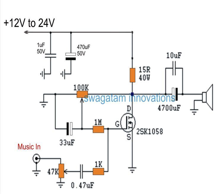 single mosfet class a power amplifier homemade circuit. Black Bedroom Furniture Sets. Home Design Ideas