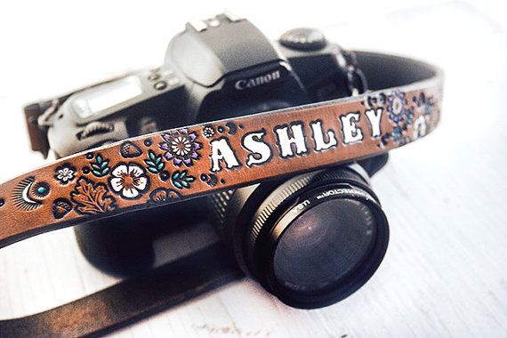 Custom Leather Camera Strap - Floral pattern, Lavender, Turquoise and White on Chocolate Brown stain - Custom text, name