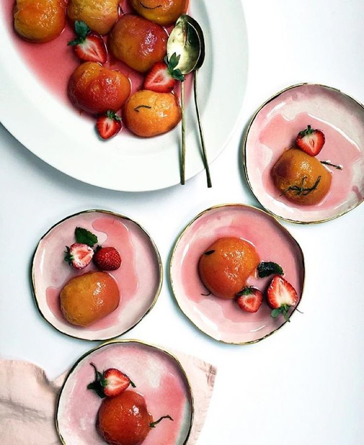 poached peaches and strawberries