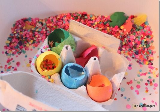 Easter is right around the corner, so I thought I'd repost our Mexican Cascarones Sensory Tray to show you a new fun and easy way of playing with eggs. Cas
