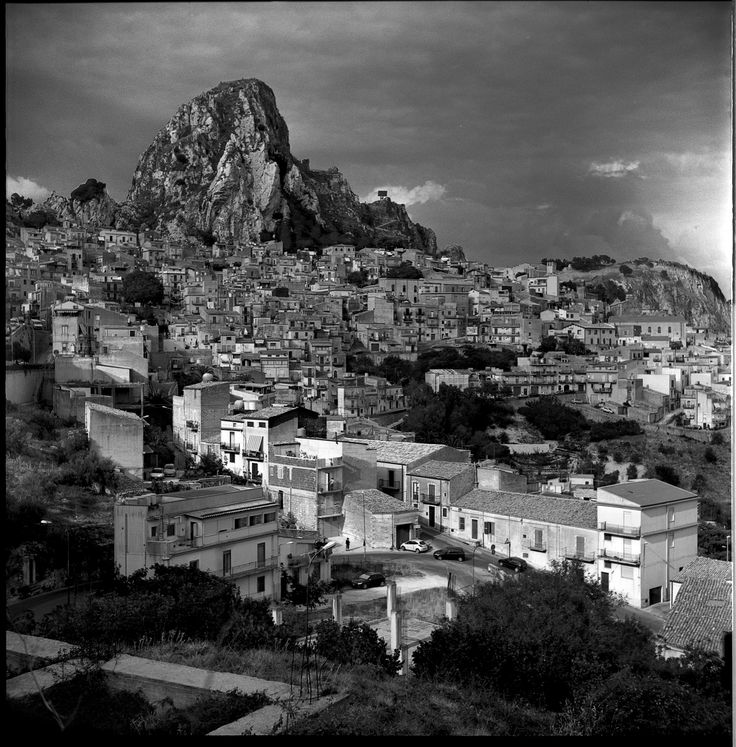 Sicily, Black and white landscape photography of Caltabellotta, Agrigento.