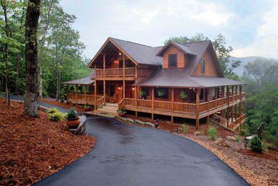 I just love wrap around decks and log homes