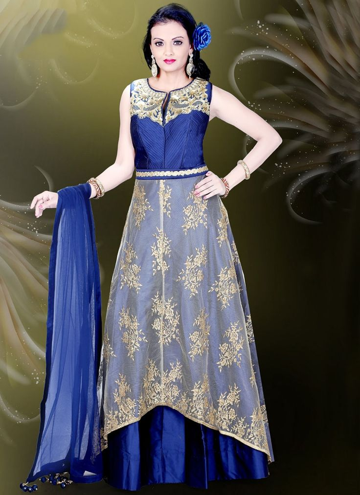 Buy Intricate Blue Readymade Gown, Online