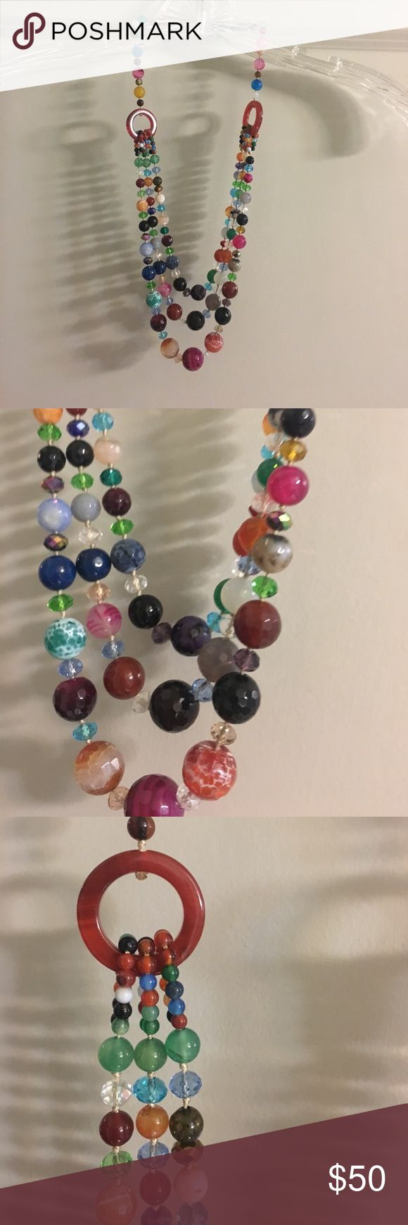 Anthropologie triple strand beaded necklace Beautifully crafted jewel-tone necklace. In great condition. Very well-made. Feel free to ask me questions! Anthropologie Jewelry Necklaces