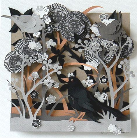 Oh, I love this...An intricate and beautiful piece by Helen Musselwhite. Each of Helen's paper sculpture and collage is hand-cut from various paper stock and then built together in layers, creating a beautiful 3-dimensional artwork. see lots more on her site: http://helenmusselwhite.com/