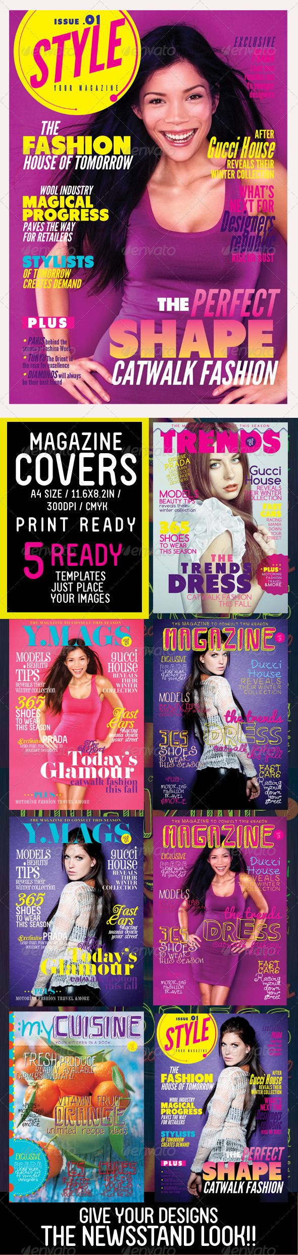 Magazine Covers Templates | Magazine cover template, Indesign ...