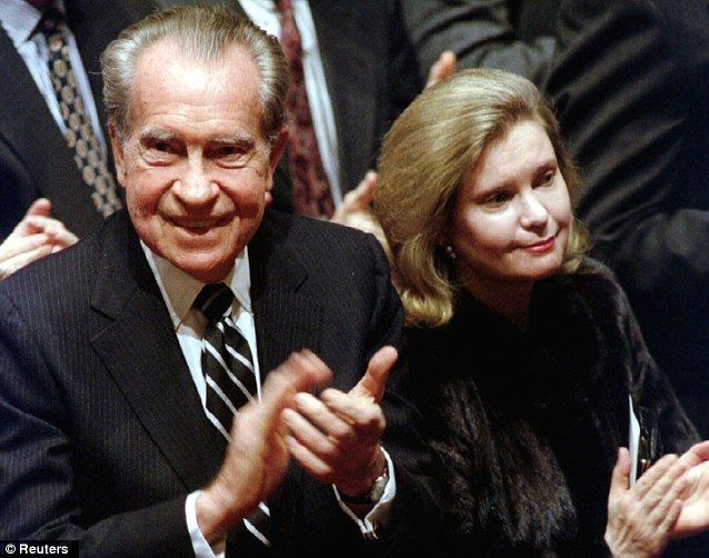 Tricia Nixon Cox with her father during a memorial service in 1993.