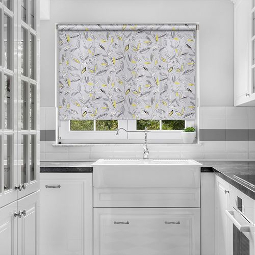 Roller blind fabric with a trendy leafy pattern on a light grey background