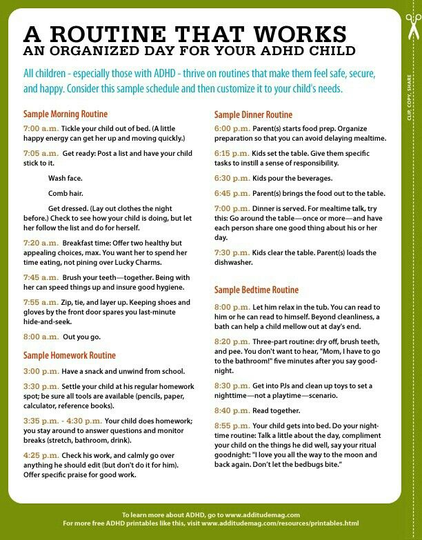 Sample Routine for ADHD child-great idea.... I find my kids have best attitudes with a 7pm bedtime (getting about 11hrs of sleep)