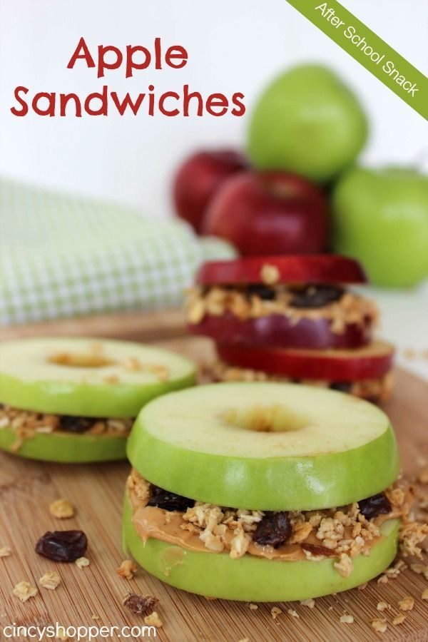 After School Snack: Apple Sandwiches Recipe. One of my kids favorite snacks when they arrive home from school. Simple, healthy and tasty!