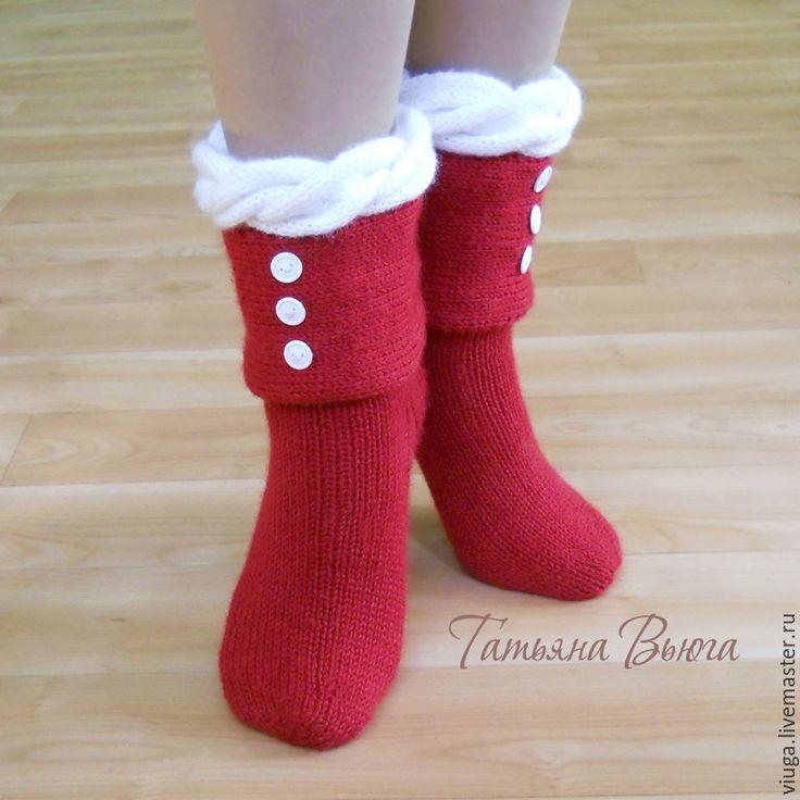 Купить Зимняя вишня. Носки вязаные, шерстяные, подарок ручной работы. - носки вязаные
