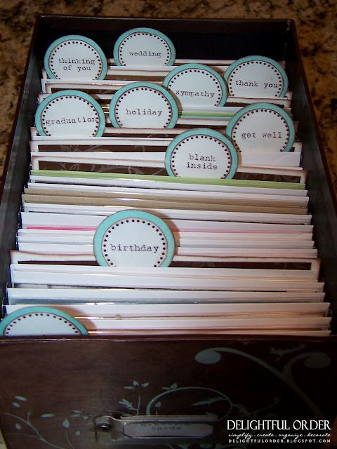 Greeting card organizer--I'VE GOT to get my cards organized!   I did it and it was sooo fun.  I used an old shoe box, covered it w/ scrapbooking paper/buttons/ribbons.  So fun!
