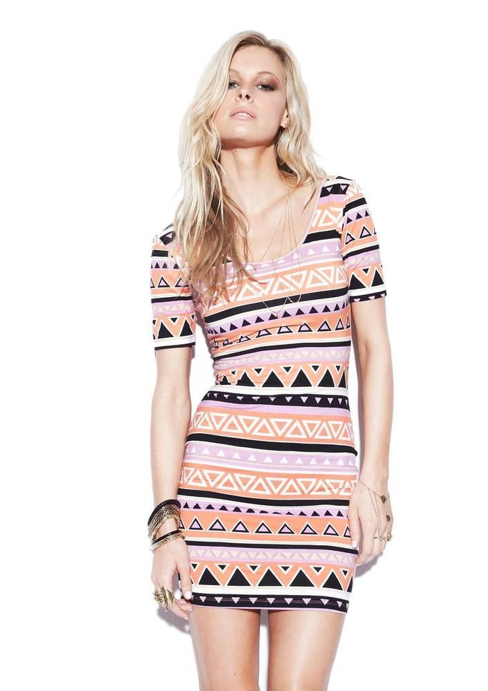 SEXY NOOKIE ORANGE PINK FITTED AZTEC TRIBAL STRETCHY T-SHIRT Body con DRESS 8 #Nookie #StretchBodycon #Cocktail