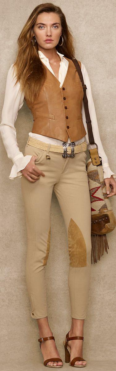 Ralph Lauren Blue Label Lambskin Bartley Vest Neutral & White Outfit
