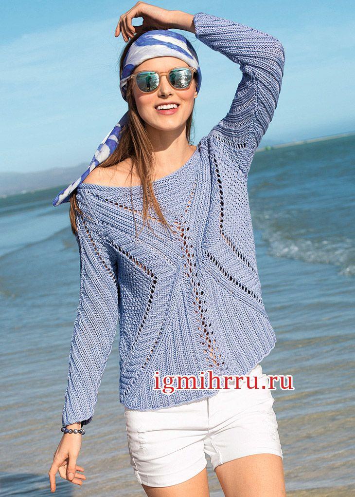 Для умелых мастериц. Голубой пуловер со структурным узором. Вязание спицами