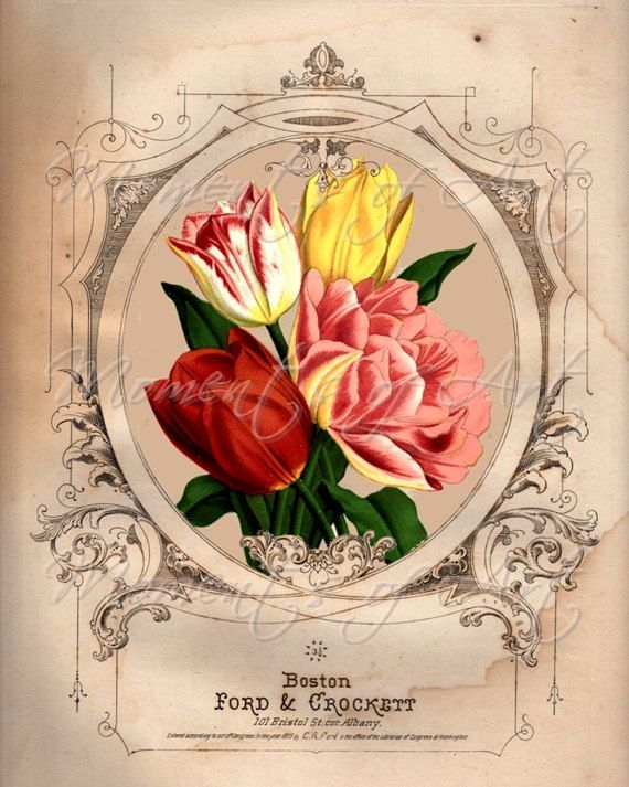 "Spring Tulip Floral Print, 8x10, ""Pink and Yellow Flowers III"" Art Image, Giclee"