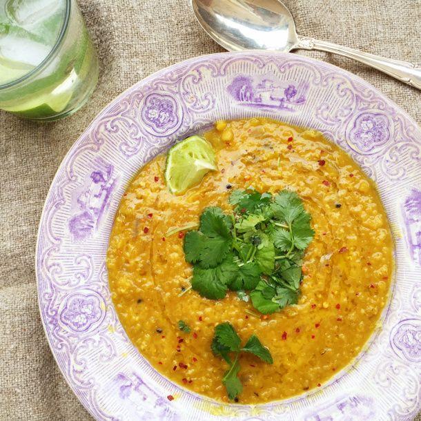 Masoor Dal - linsgryta med lök, chili och lime