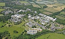 University of Kent - UK. Aerial view of Canterbury campus, University of Kent