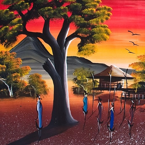 Peinture village typique afrique africa africa art - Dessin paysage africain ...