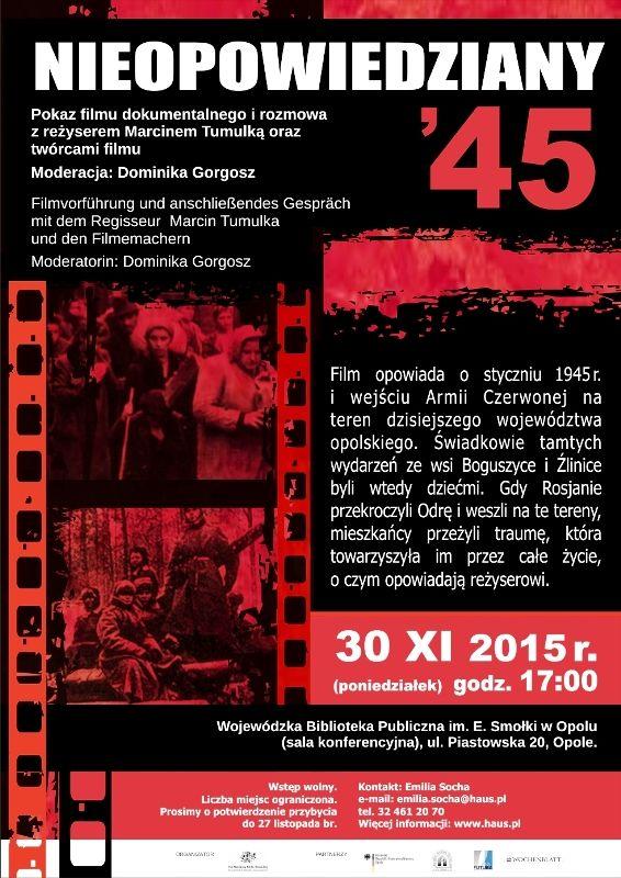 """""""Nieopowiedziany 1945"""" - pokaz filmu dokumentalnego. Rok-45_B2-d.jpg (Obrazek JPEG, 566×800pikseli)"""