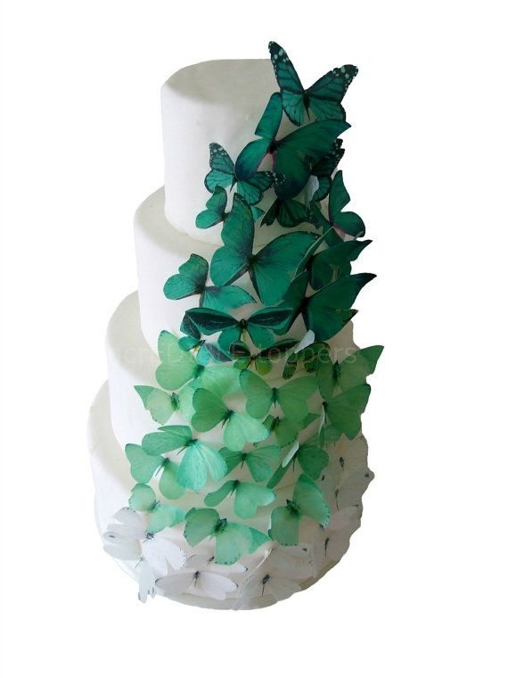 CAKE TOPPER - 40 Ombre Edible Butterflies in Green - Wedding Cake, Cake Decorations - Emerald. $28.95, via Etsy.
